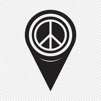 Icona del segno di pace del puntatore della mappa vettore