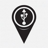Icona Usb puntatore mappa