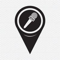 Icona del microfono di notizie puntatore della mappa vettore
