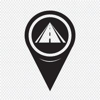 Icona della strada del puntatore della mappa