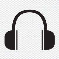 Segno di simbolo dell'icona delle cuffie vettore