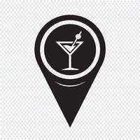 Icona della bevanda bevanda puntatore mappa