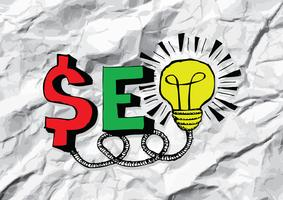 SEO SEO Search Engine Optimization su carta stropicciata