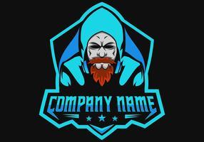 barba uomo gamer gaming e sport logo vettore