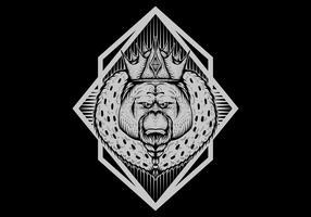 illustrazione di vettore del distintivo del re dell'orangutan