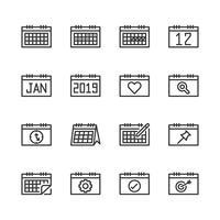Insieme dell'icona relativo al calendario. Illustrazione di vettore