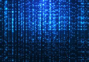 Tecnologia a matrice astratta linee di particelle scintillanti scintillio magico blu su sfondo scuro.