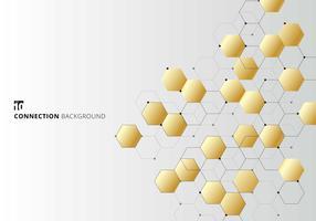 Esagoni d'oro astratti con nodi digitali geometrici con linee nere e punti su sfondo bianco. Concetto di connessione tecnologica.