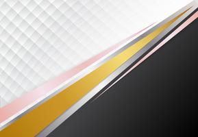Concetto aziendale modello oro, argento, oro rosa e sfondo di contrasto bianco. Illustrazione grafica vettoriale