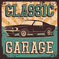 Vector l'illustrazione con l'immagine di vecchia automobile classica, il logos di progettazione, i manifesti, le insegne, la segnaletica.