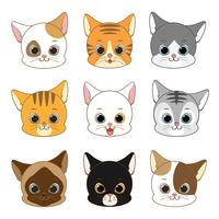 Cat Head Collection Set sorridente sveglio