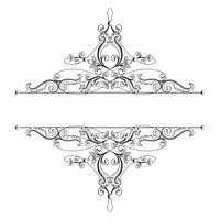 Divisore o cornice in stile retrò calligrafico isolato su priorità bassa bianca. vettore