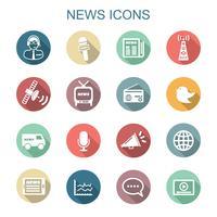 icone di lunga ombra di notizie vettore