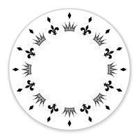 Cerchio decorativo decorato con simboli, corone. Può essere usato come cornice, etichetta, etichetta, decorazione. Vettore