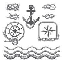 Simboli marini: una bussola, un'ancora, un nodo di corda, una corda. vettore