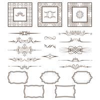 Set di cornici e divisori vintage. Puoi utilizzare return per la progettazione e l'esecuzione di inviti, foto, cartoline. vettore