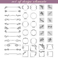 insieme di elementi di design, cornici, divisori, bordi. Illustrazione vettoriale per la progettazione di pagine.