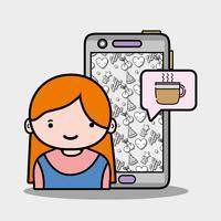 ragazza con chat smartphone e tazza di caffè