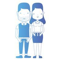 linea coppia insieme con acconciatura e vestiti