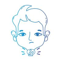 linea uomo con virus di mal di gola vettore