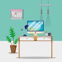 scrivania con accessori piatti da ufficio per lavorare vettore