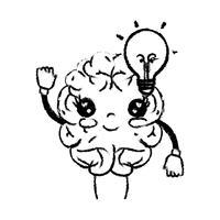 figura kawaii cervello felice con idea lampadina vettore