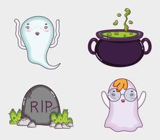 Set di cartoni animati di halloween vettore