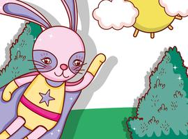 Cartone animato coniglio supereroe