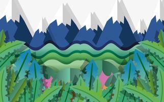 Cartoni animati natura arte carta vettore