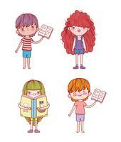 impostare ragazzi e ragazze con informazioni sui libri vettore