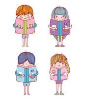 impostare ragazzi e ragazze con l'istruzione di libri vettore