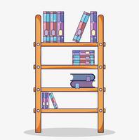 Cartone animato biblioteca in legno vettore