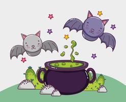 Concetto di cartoni animati di Halloween vettore