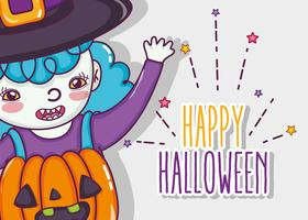 Cartoni animati di carta felice halloween vettore