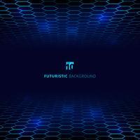 Visualizzazione futuristica dei dati del wireframe della rete blu astratta della rete metallica