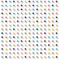 Cerchi a strisce astratti puntini colorati e ombra su sfondo bianco.