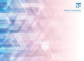 Frecce corporative geometriche di tecnologia astratta su sfondo blu e rosso sfumato.