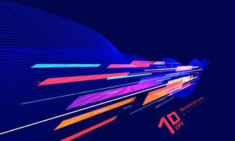 Tecnologia di prospettiva astratta geometrica e linee di torsione colorate su sfondo blu scuro.
