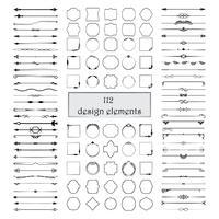 Elementi calligrafici di design. Divisori, cornici di forme diverse. Vettore