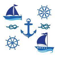 Un set di icone di uno yacht, un timone, una barca a vela, una corda.