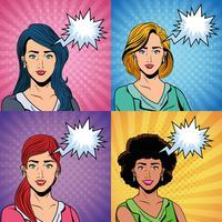 Donne pop art vettore