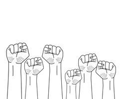 mani alzate dei pugni vettore