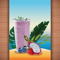 Succo di frutta tropicale estivo rinfresco vettore