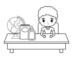 ragazzo studente seduto nel banco di scuola con istruzione di forniture