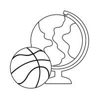 globo terrestre con palloncino basket vettore