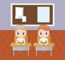 piccolo studente seduto nella scena dell'aula