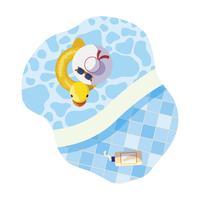 bordo piscina con galleggiante di anatra e scena di cappello vettore