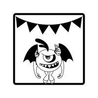 cornice quadrata con mostro volante e ghirlande di festa