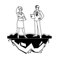 coppia di ingegneri costruttori personaggi operai
