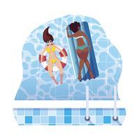belle ragazze interrazziali con materasso galleggiante in acqua vettore